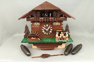 Large Working Chalet Waterwheel Automaton Black Forest Musical Cuckoo Wall Clock