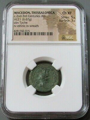 2nd -3rd CENTURY AD MACEDON, THESSALONICA AE 21 TYCHE NGC CH EXTREMELY FINE 5/3