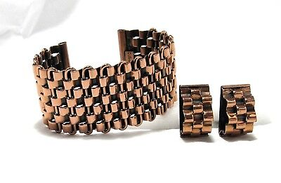 Vtg 1950s RENOIR Basketweave Copper Cuff BRACELET EARRINGS SET Mid Century Mod
