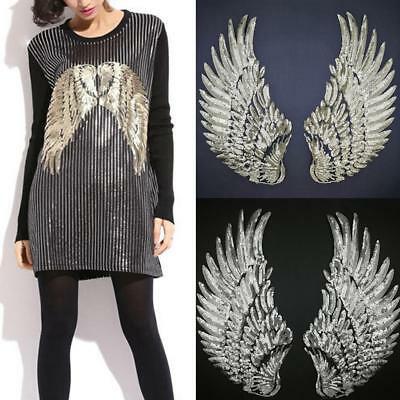 2PCS Sequin Beaded Angel Wings Iron on Applique Patch Mirror Embroidery Wing BE