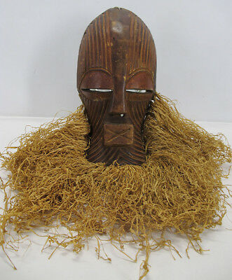 Vintage African SONGYE Tribe Kifwebe Ritual Carved Face Mask Kasai Oriental yqz