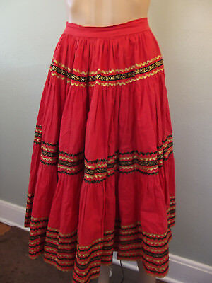 """Vintage 1950s~Handmade~Red Cotton/Embroidered Gypsy/Squaw~Broomstick Skirt~30""""W"""