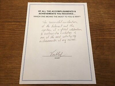 Inventor & Father Of The Internet Vint Cerf Signed Q&a Als! Authentic Autograph