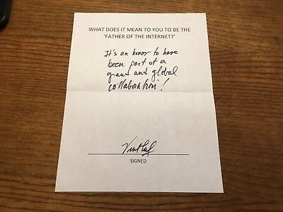 Inventor & Father Of The Internet Vinton Cerf Signed Q & A Als! Authentic Rare!