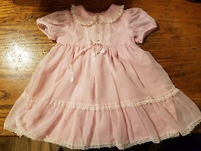 VTG NWOT'S Pretty Pink S/S Sz 2T 2 layer,ruffled hem lace trimmed Spring Dress