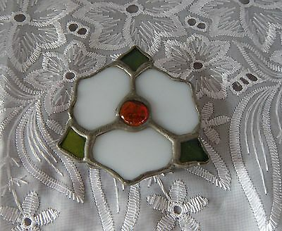Vintage Leaded Stained Glass Belt Buckle Magnolia Flower
