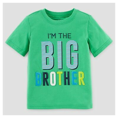 ~NEW~ BIG BROTHER Boy Shirt 18 Months 2T 3T 4T 5T Green SS Carters Announcement