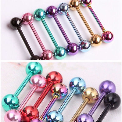 7pcs 14G Surgical Steel Barbell Bar Tongue Ring Stud Piercing Pin 7 Colors