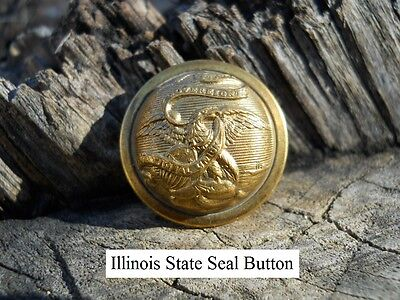 Old Rare Vintage Antique War Relic Illinois State Seal Coat Gold Gilded Button