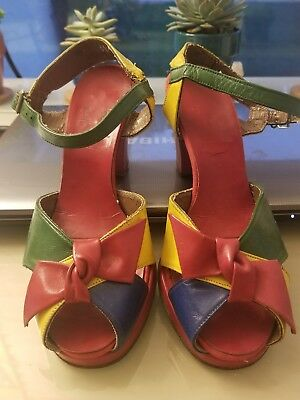 As is 1940s rainbow colorblock shoes 40s rare