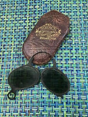 Antique Folding Sunglasses Pince Nez Safety Glasses In Case BORSCH OPTICIAN PA