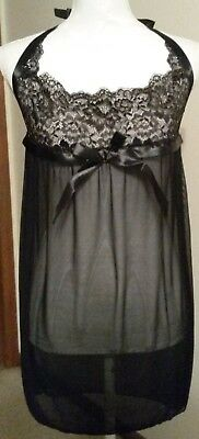 Black Sexy Night Gown New in Bag. Size Large. Black Bow & Ribbon Shear