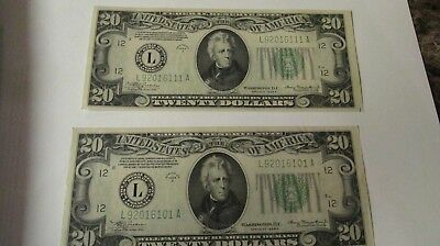 1934 2x $20.00 bills matching pair absolutely mint great color and crispy bills!