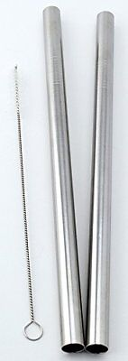 "2 Stainless Steel Straws Big Straw Extra Wide 1/2"" x 9.5"" Long Thick FAT -"