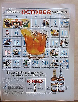 1947 magazine ad for Kinsey Whiskey - October calendar, Old Fashioned recipe