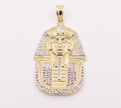 "2.5"" Pharaoh Egyptian King Diamond Cut Pendant Real 10K Yellow White Gold"