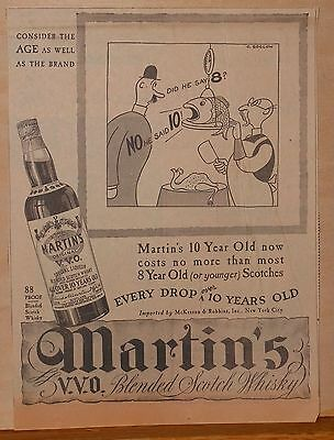 1937 newspaper ad for Martin's V.V.O. Blended Scotch Whiskey - cartoon by Soglow