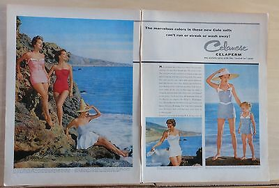 1954 two page magazine ad for Cole of California swimsuits - colorful photos
