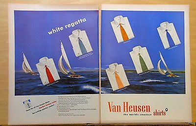 1948 two page magazine ad for Van Heusen, It's the White Shirt Regatta! colorful