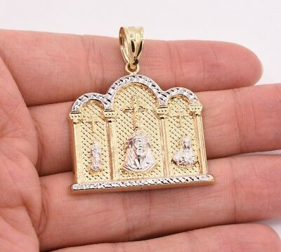 """2"""" Jesus Last Supper Mary Church Cross Pendant Charm Real 10K Yellow White Gold"""