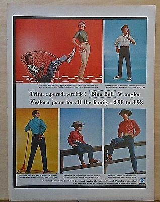 1956 magazine ad for Wrangler jeans, Trim Tapered Terrific Western Jeans for all