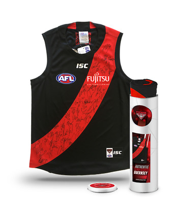 Essendon Bombers – 2018 Team Signed Guernsey in a Deluxe Presentation Tin – $599