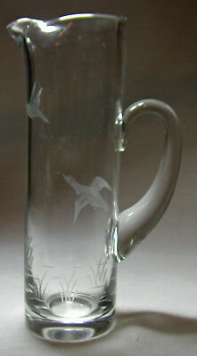 Beautiful Tall Signed Webb England Martini Pitcher With Fine Engraved Birds