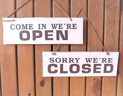 White & Brown Hanging Wooden Plaque Reversible Open Closed Sign Shop Retail