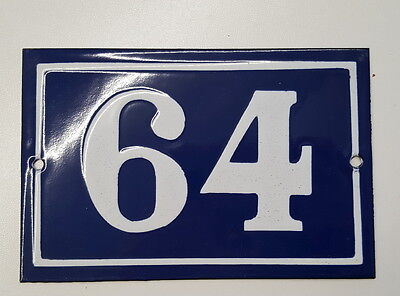 ANTIQUE FRENCH ENAMEL  HOUSE NUMBER SIGN Door gate plaque plate 64
