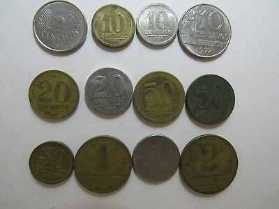 Lot of 12 Different Brazil Coins - 1945 to 1994 - Circulated