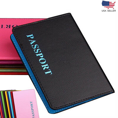 Leather Travel Passport Holder Card Cover Slim Case Adventure Thin Wallet Pouch