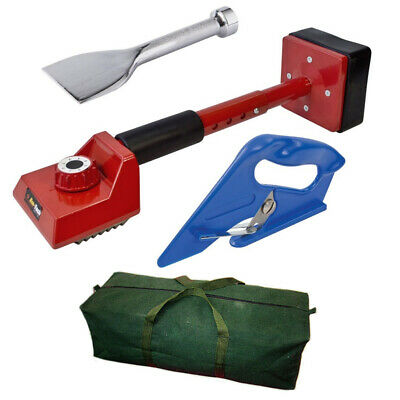 4 Pc Carpet Fitting Tool Kit - Red Knee Kicker / Bolster / Cutter / Canvas Bag