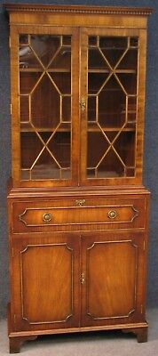 Reprodux Bevan Funnell Georgian Style Flame Mahogany Secretaire Bookcase Cabinet