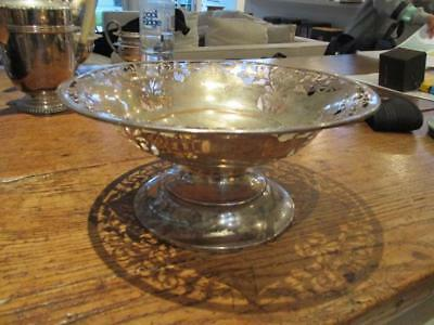ANTIQUE VICTORIAN STERLING SILVER PIERCED BOWL SHEFFIELD 1905 417g RM & EH