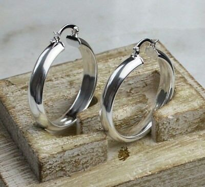 925 Sterling Silver Plated Women's 35mm/3.5cm Wide Leverback Hoop Earrings