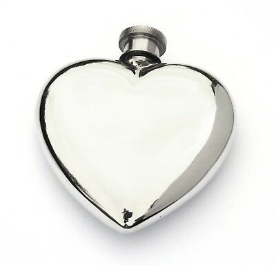 Heart Shaped Pewter 3Oz Hip Flask With FREE ENGRAVING Gift