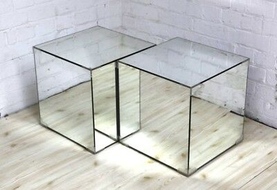 Pair of Mirrored Side Table Storage Cubes - Timeless Stylish Design