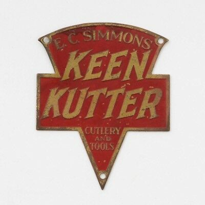 EC. Simmons Keen Kutter Cutlery & Tools Logo Red Painted Brass Sign Plaque 1.75""