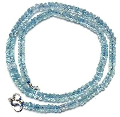 """Natural Gemstone Faceted Aquamarine 5 to 7MM Rondelle Beads Necklace 16.5"""" 95Cts"""