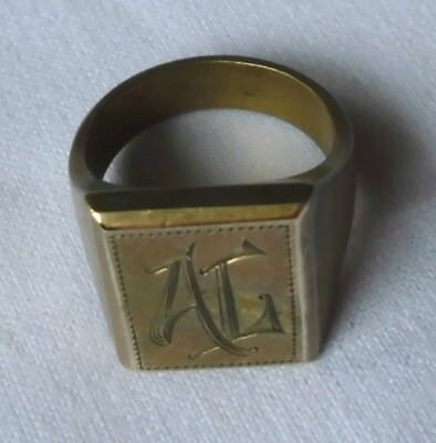 massiver Messing Ring Siegelring Herrenring Initialen AL (124228)