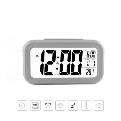Sveglia Orologio Led Digitale Termometro Calendario Temperatura Display Bianco