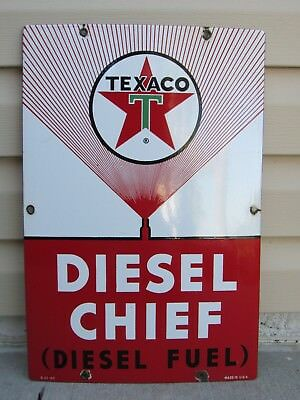 Old 1961 Texaco Porcelain Sign Diesel Chief