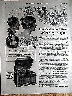 1917 PATHE Record Player  PRINT AD 10 x 14 inches