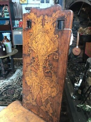 Antique Hand Carved Hardwood Detailed  Hall Chair. Late 1700/Early 1800. As Is.