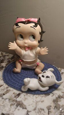 Betty Boop With Her Dog And Blue Carpet Porelain Rare Great Gift