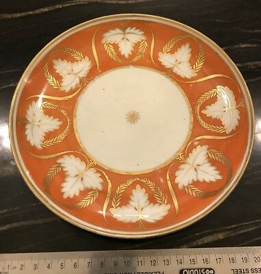 Early 19th Century Orange And Gilt Salad Or Tea Plate
