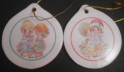 Precious Moments Porcelain Set of 2 Christmas Ornaments 2004 Sew Special Hearth
