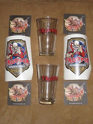 Iron Maiden Trooper Beer 2 Pint Glasses, Stickers, And Coasters / Beer Mats