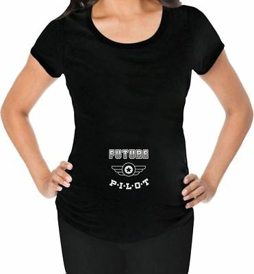 Future Pilot - Mom To Be Pregnancy Maternity Shirt Top Blouse Funny Black XL