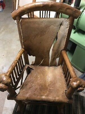Enormous c 1930s MOLESWORTH Style Great Burl Rocking Chair with Deerskin